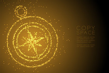 Abstract Geometric Circle Dot Pixel Pattern Compass Shape, Travel Concept Design Gold Color Illustration Isolated On Brown Gradient Background With Copy Space, Vector Eps 10