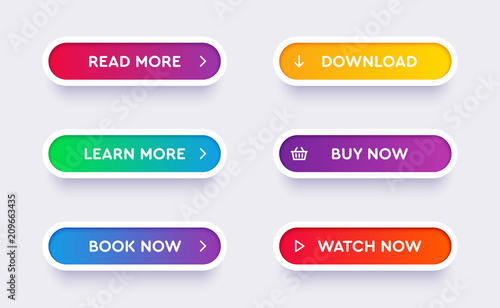 Obraz Set of vector modern material style buttons. Different gradient colors and icons on white forms with shadows. - fototapety do salonu