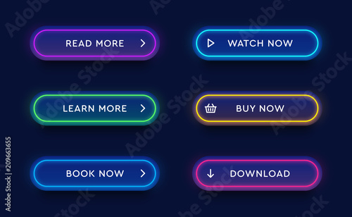 Obraz Set of vector modern neon glowing buttons. Different colors of tubes and icons on dark rounded forms. - fototapety do salonu