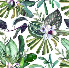 Fototapeta Inspiracje na wiosnę Seamless watercolor pattern with tropical flowers, magnolia, orange flower, tropical leaves, banana leaves