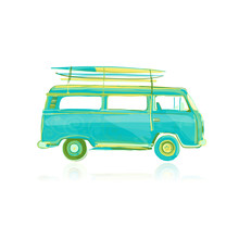 Retro Bus With Surfboards, Sketch For Your Design