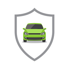 Green Car And Shield. Car Secu...