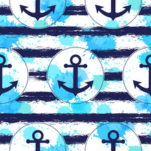Seamless Pattern With Anchor. ...
