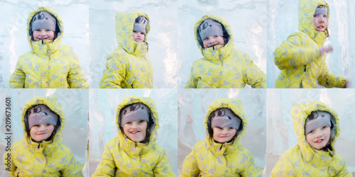 Photo Happy giel ijn yellow poses behind thick piece of ice, collage with one model