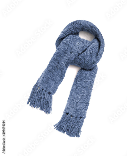 0b026aaae8599 Blue warm scarf on a white background - Buy this stock photo and ...