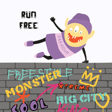Hand Drawn Vector Illustration Of A Cute Funny Parkour Monster Jumping Over The Wall With Graffiti, With Quote Run Free. Isolated Objects On White Background. Concept For Children Print.