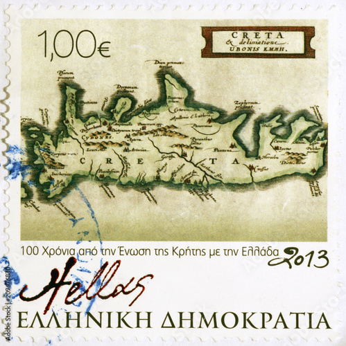 Old map of Crete on greek postage stamp - Buy this stock