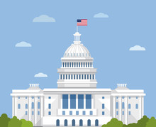 White House Vector Flat Illust...