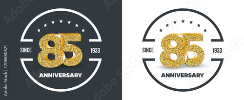 Fotografía 85th Anniversary logo on dark and white background