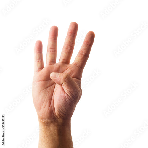 Adult male hand showing number four gesture isolated on white Poster Mural XXL