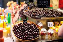 Heap Of Cherries On La Boqueria Market In Barcelona, Spain