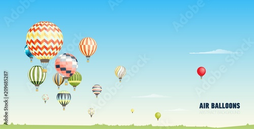 Poster Bleu Gorgeous horizontal banner, background or picturesque landscape with hot air balloons flying in clear blue sky. Festival of beautiful manned aircrafts. Vector illustration in flat cartoon style.