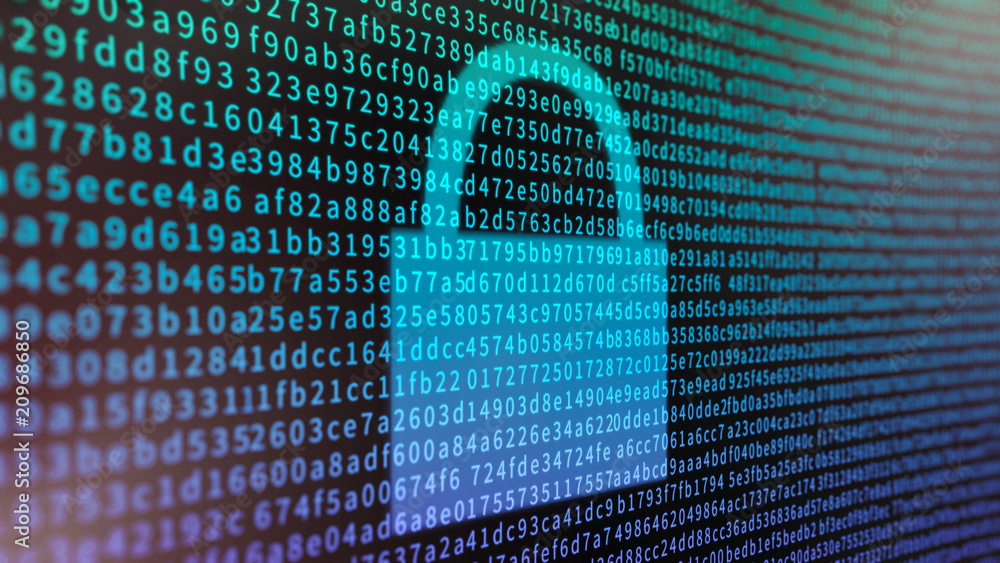 Fototapeta Data encryption concept with a screen full of hexadecimal information and padlock symbol
