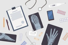 Doctor's Or Surgeon's Table. Paper Document, X-rays Or Radiographs Of Various Body Parts, Smartphone, Medications And Medical Tools Lying On Desk. Colorful Vector Illustration In Flat Cartoon Style.