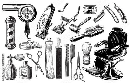Set of vintage barbershop emblems labels badges logos scissors blade brush pole Canvas-taulu