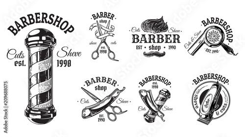Set of vintage barbershop emblems labels badges logos scissors blade brush pole Tapéta, Fotótapéta