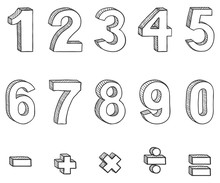 Vector Set Of Sketch Figures And Mathematical Signs