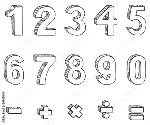 Fototapeta Vector Set of Sketch Figures and Mathematical Signs obraz