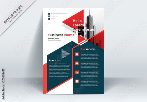 red triangle corporate flyer flier design template a4 size cmyk