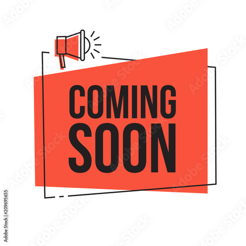 Coming soon  Vector red sign illustration isolated on white