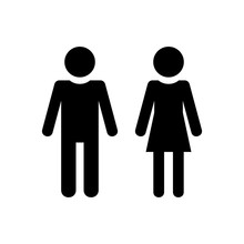 Man And Woman Icon. Monochrome Style. Isolated On White Background