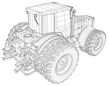 Vector Wheeled Tractor Isolated On White Background. Side View. Tracing Illustration Of 3d. EPS 10 Vector Format.