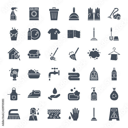 Cleaning Solid Web Icons Wall mural