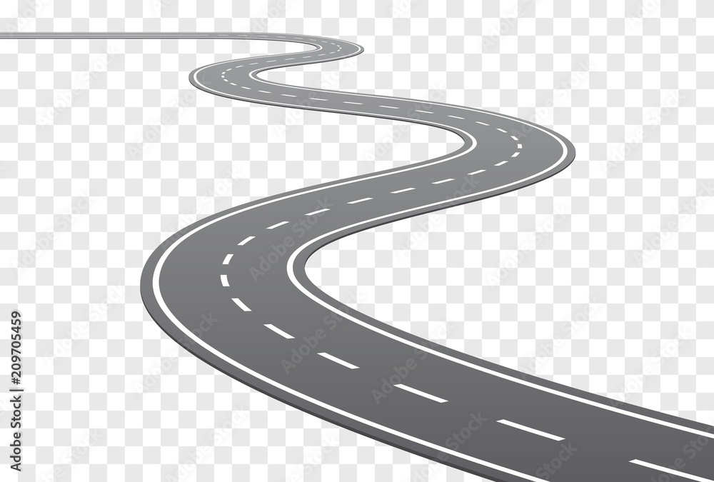 Fototapeta Vector Curved road with white lines