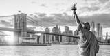 Fototapeta Nowy York - Statue Liberty and  New York city skyline black and white