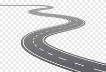 Vector Curved Road With White ...