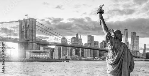 Foto op Aluminium New York Statue Liberty and New York city skyline black and white