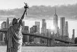 Statue Liberty and  New York city skyline black and white