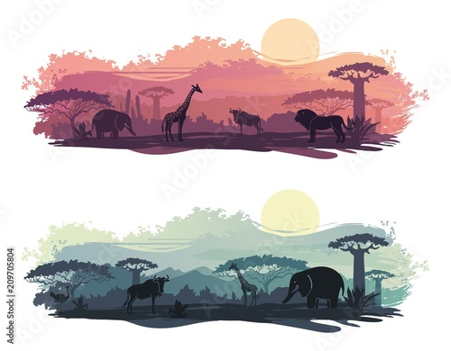 Stickers pour porte Blanc African landscape with wild animals
