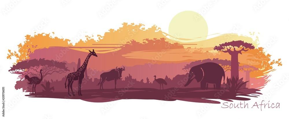 Fototapeta African landscape with wild animals