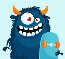 Funny Cartoon Monster With Skateboard. Vector Illustration