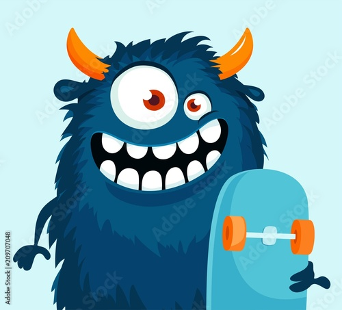 Funny cartoon monster with skateboard. Vector illustration Fototapet