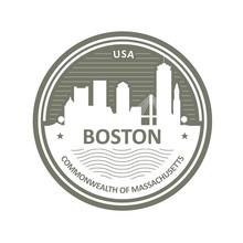 Badge With Boston Skyline - Bo...