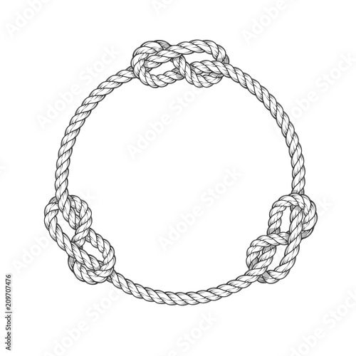 Obraz Rope circle - round rope frame with knots, vintage style - fototapety do salonu
