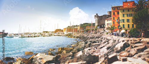 Spoed Foto op Canvas Liguria beautiful view of the marina with yachts, rocky coast in the city of Santa Margarita, Italy, panorama
