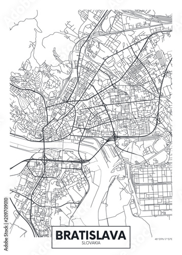 Detailed vector poster city map Bratislava Wallpaper Mural