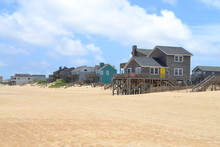 Beach Front Properties Along The Ocean Front Near Kill Devil Hills, Outer Banks, North Carolina