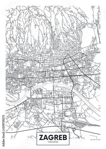 Canvastavla Detailed vector poster city map Zagreb