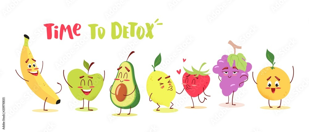 Fototapeta Cute cartoon fruits with happy emotions. Time to detox concept. Vector illustration