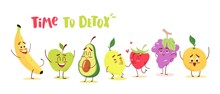 Cute Cartoon Fruits With Happy...