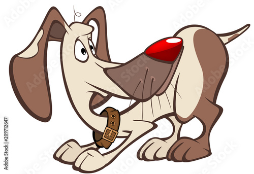 In de dag Babykamer Illustration of a Cute Hunting Dog. Cartoon Character