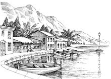 Harbor Drawing. Small Buildings And Boats On Shore