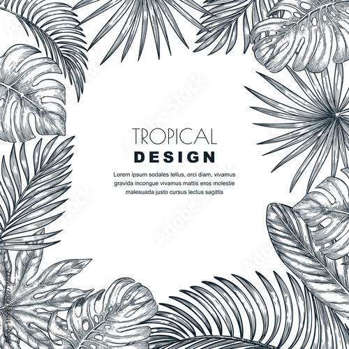 Foto  Tropical palm leaves vector square frame
