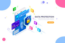 Cyber Security Authentication, Access By Encryption To The Network Or Computer. Can Use For Web Banner, Infographics, Hero Images. Flat Isometric Vector Illustration Isolated On White Background.