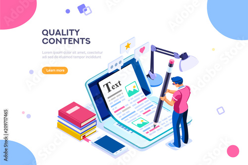 Obraz Seo infographic, content for creative blog post. Blogger character. Can use for web banner, infographics, hero images. Flat isometric character, vector illustration isolated on white background.