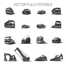 Vector Transport Cars, Trucks, Construction Equipment Of Various Types.